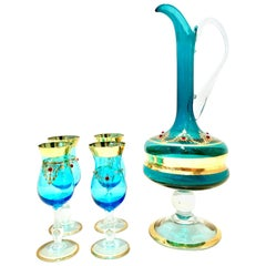 20th Century Italian Venetian Glass and 22-Karat Gold Drinks Set of 5