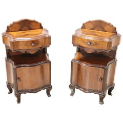 20th Century Italian Venetian Louis XV Style Walnut Burl Pair of Nightstands