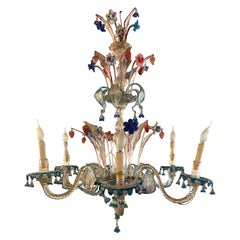 20th Century Italian Venetian Six-Light Chandelier with Floral Sprays, 1940s