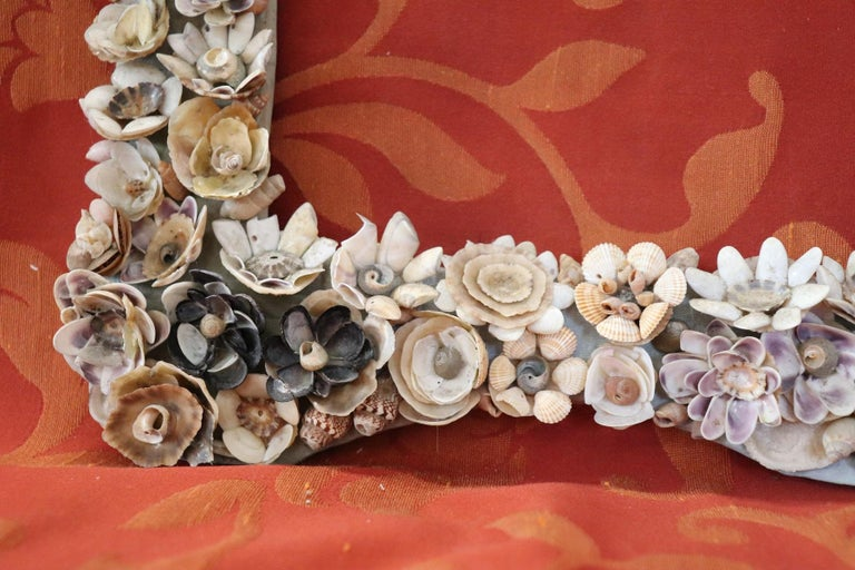 20th Century Italian Vintage Artistic Photo Frame with Shells In Good Condition For Sale In Bosco Marengo, IT