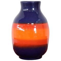 20th Century Italian Vintage Artistic Vase in Ceramic Blue and Orange Color
