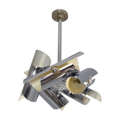 20th Century Italian Vintage Chrome Chandelier or Pendant Light, 1970s