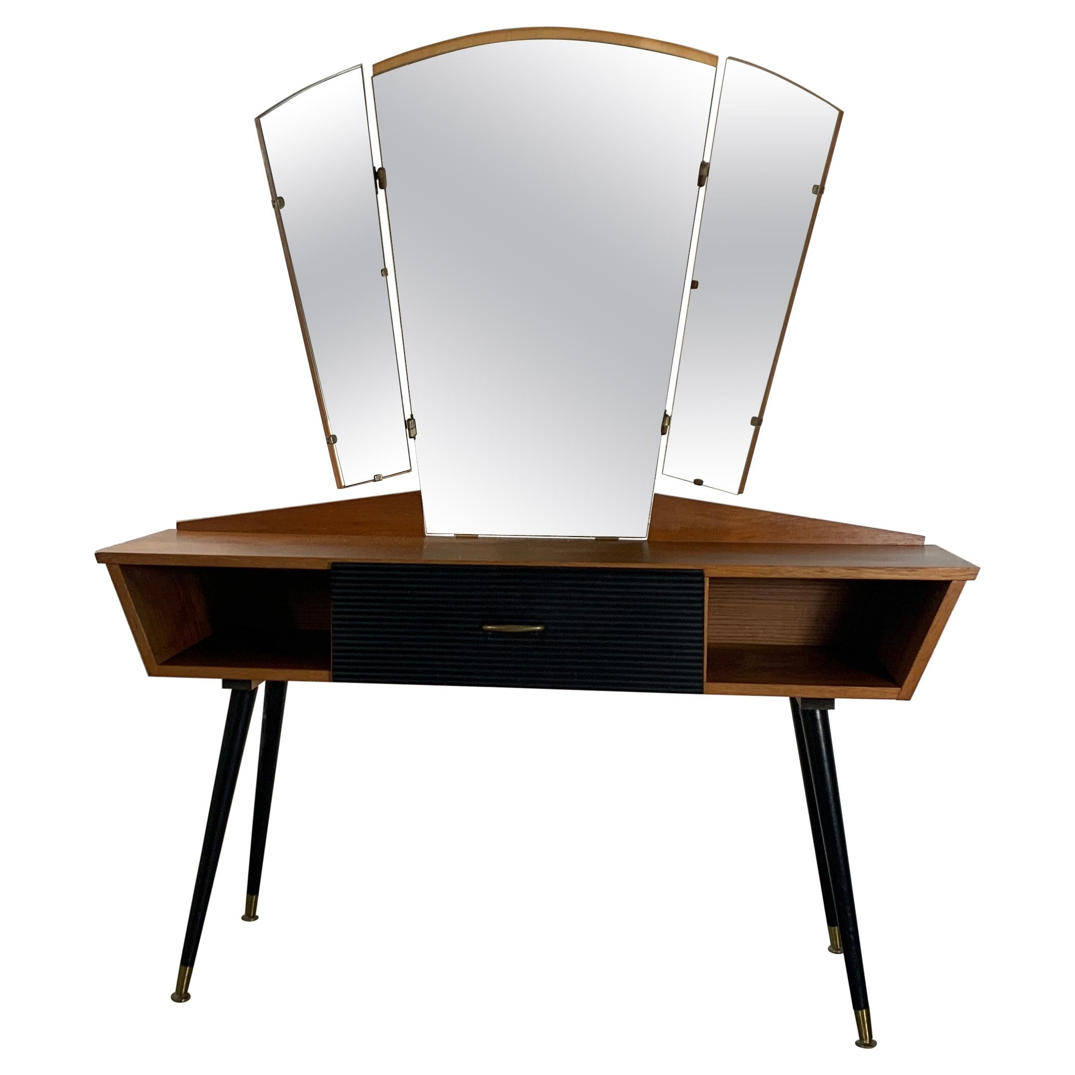 20th Century Italian Vintage Dressing Table Teak and Brass, 1950s
