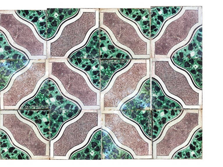 20th century Italian vintage reclaimed decorated tiles, 1920s. 68 pcs available. Approximately 2.70 sqm.
