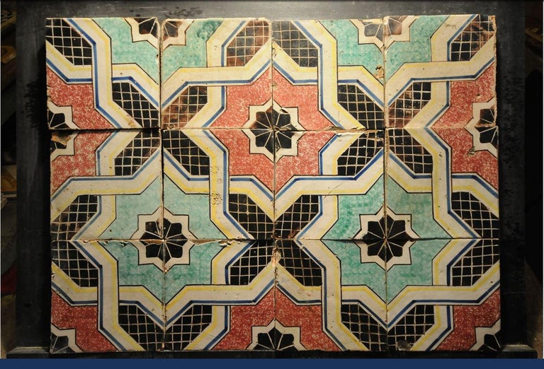 20th century Italian vintage reclaimed decorated tiles, 1920s 131 pcs available (about 5,24 square meters).