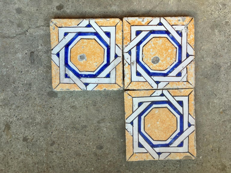 Victorian 20th Century Italian Vintage Reclaimed Decorated Tiles, 1920s For Sale