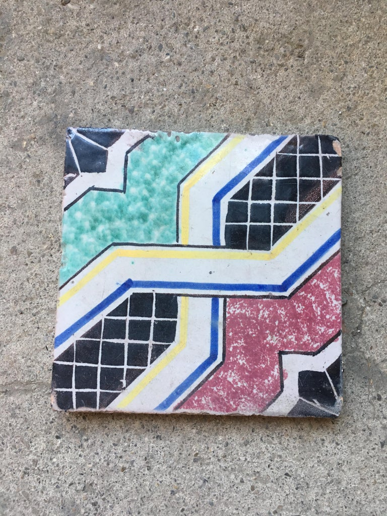Mid-Century Modern 20th Century Italian Vintage Reclaimed Decorated Tiles, 1920s For Sale
