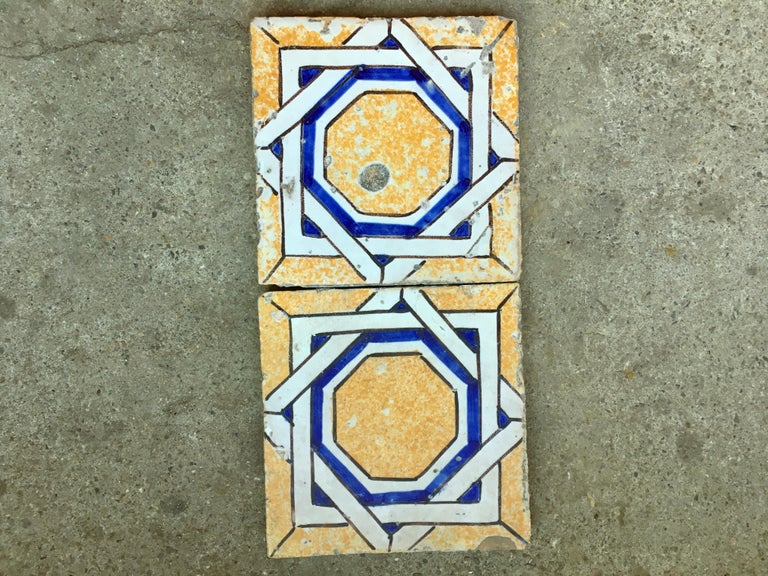 20th Century Italian Vintage Reclaimed Decorated Tiles, 1920s In Good Condition For Sale In Florence, IT