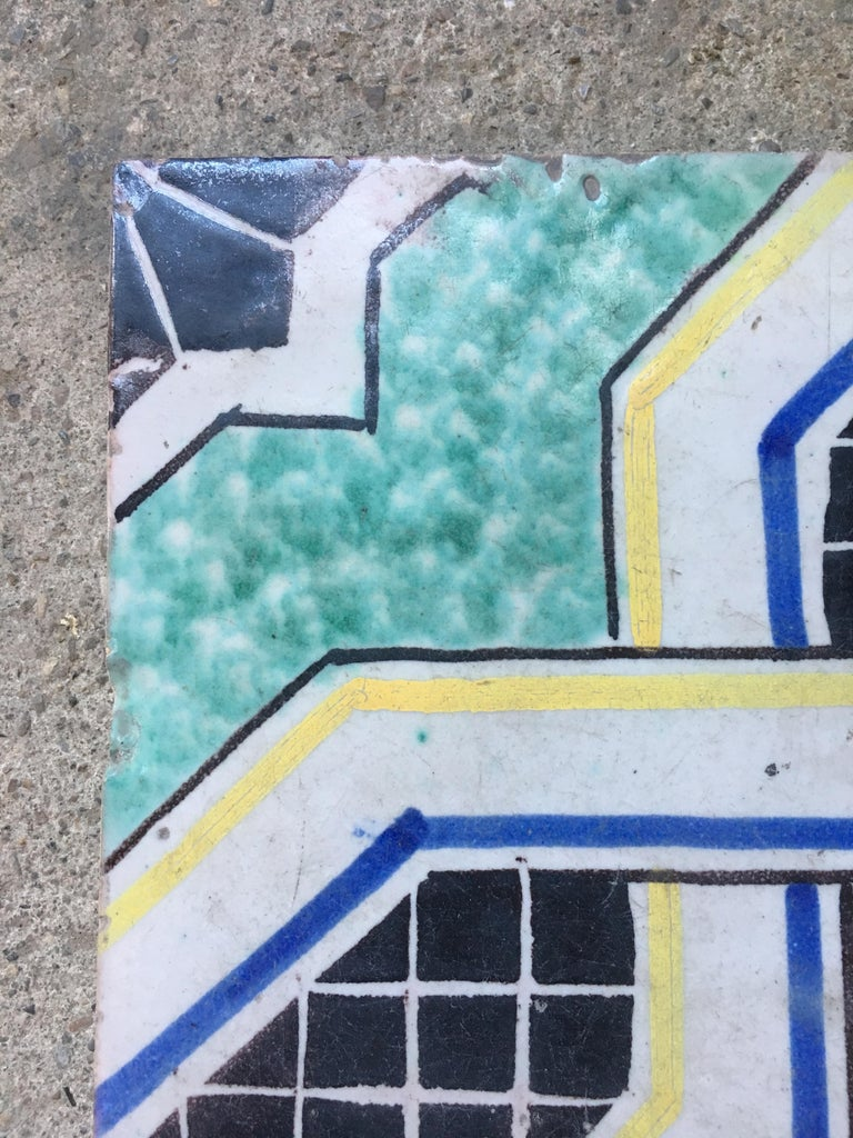 Early 20th Century 20th Century Italian Vintage Reclaimed Decorated Tiles, 1920s For Sale