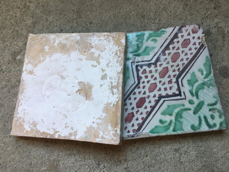 Ceramic 20th Century Italian Vintage Reclaimed Decorated Tiles, 1920s For Sale