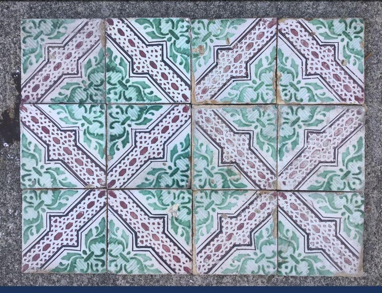 20th Century Italian Vintage Reclaimed Decorated Tiles, 1920s For Sale 1