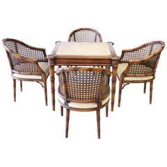 20th Century Italian Walnut and Wien Straw Four Armchairs and Game Table