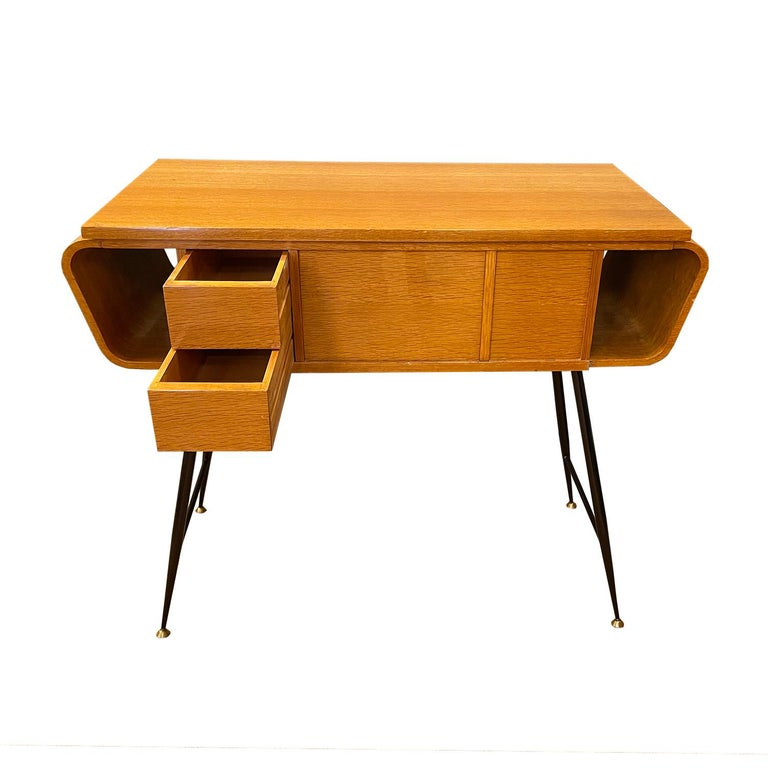 Hand-Carved 20th Century Italian Walnut, Brass Console Table by Ico Parisi