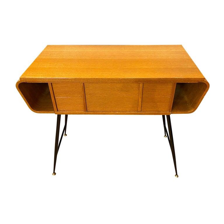 Mid-Century Modern 20th Century Italian Walnut, Brass Console Table by Ico Parisi