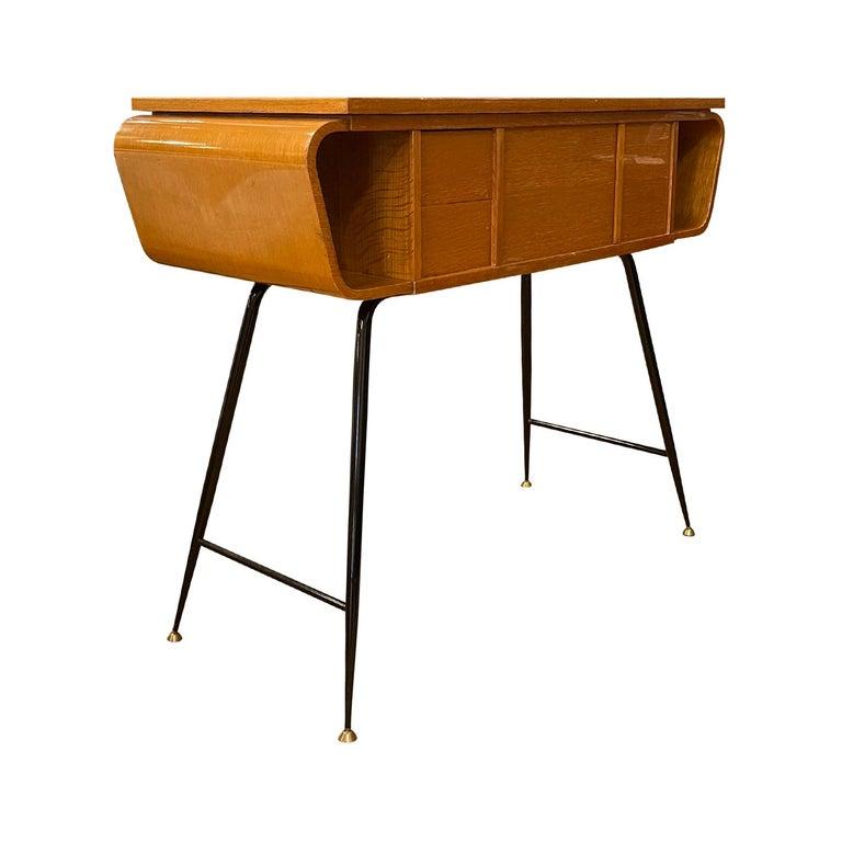 20th Century Italian Walnut, Brass Console Table by Ico Parisi 1