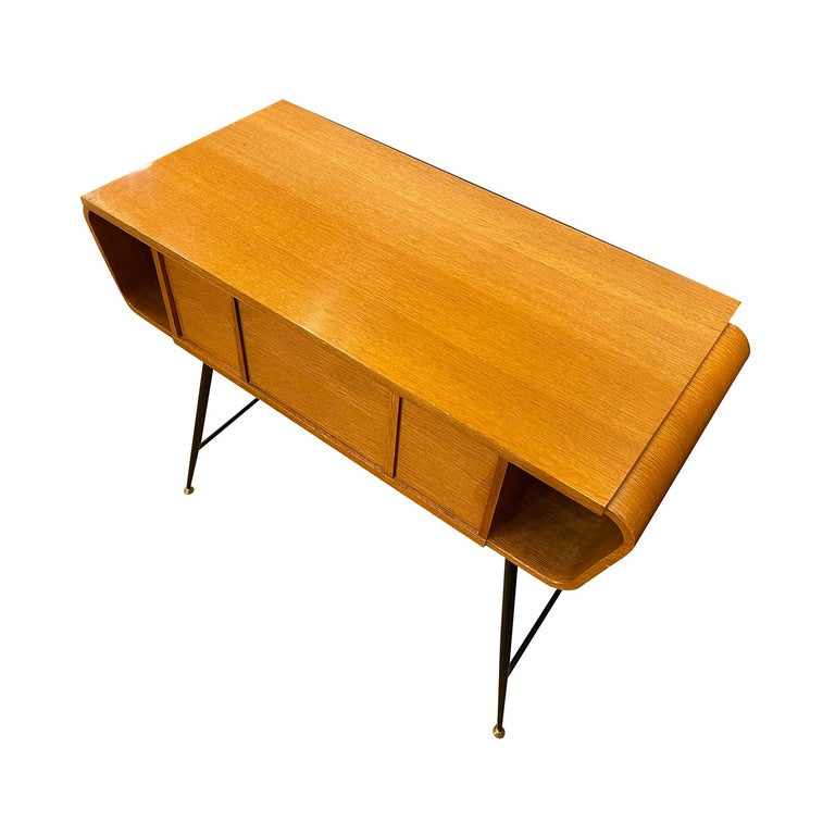 20th Century Italian Walnut, Brass Console Table by Ico Parisi 2