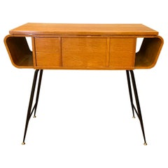 20th Century Italian Walnut, Brass Console Table by Ico Parisi