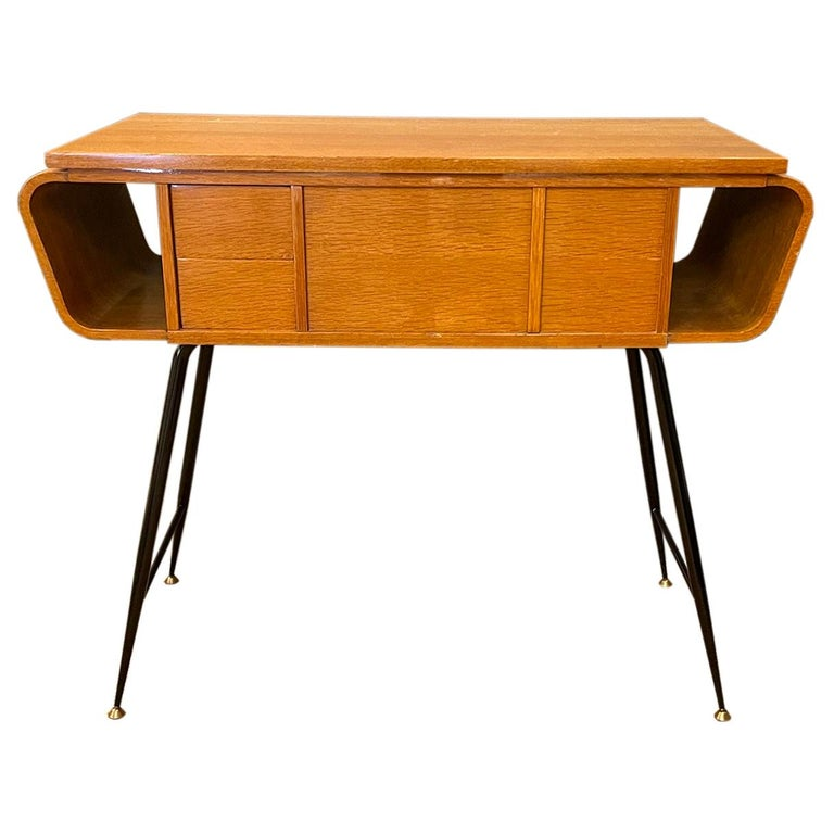 20th Century Italian Walnut, Brass Console Table by Ico Parisi