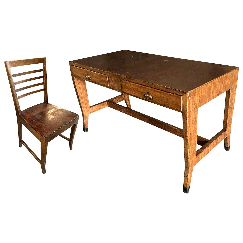 20th Century Italian Walnut Writing Desk, Table and Desk Chair by Gio Ponti