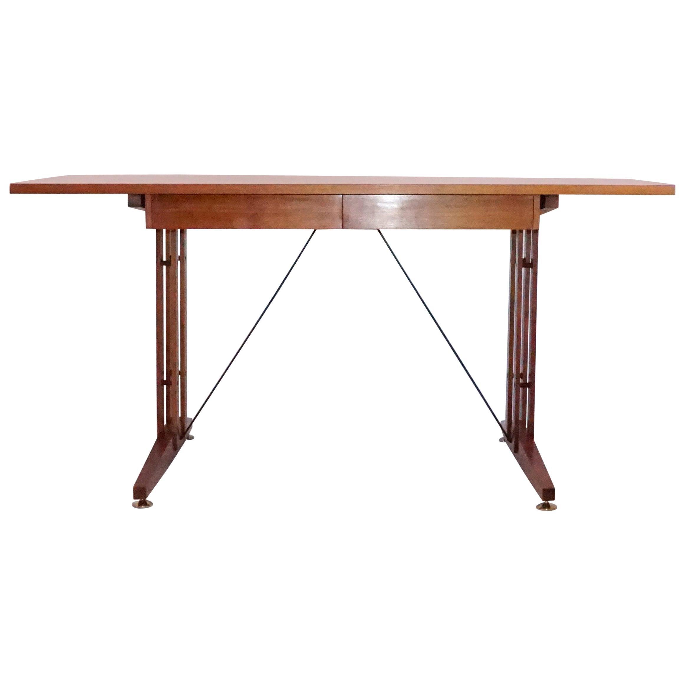 20th Century Italian Walnut Writing Table, Desk in the Manner of Carlo Ratti