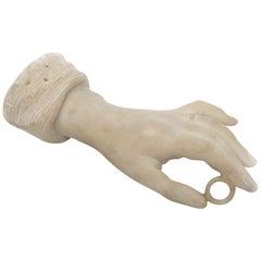 Italian 20th Century White Carrara Marble Bride Hand Sculpture Paperweight