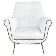 20th Century Italian White Lounge Chair by Gigi Radici, Minotti Side Chair