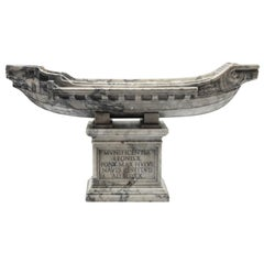 20th Century Italian White Marble Statuary Sculpture of Boat by Giancarlo Pace