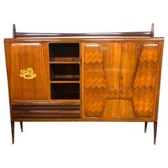 20th Century Italian Wood Modern Afrormosia Cabinets Paolo Buffa Style, 1950s