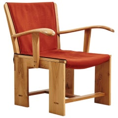20th Century Italian Wooden Armchair with Red Fabric Designed by Carlo Scarpa