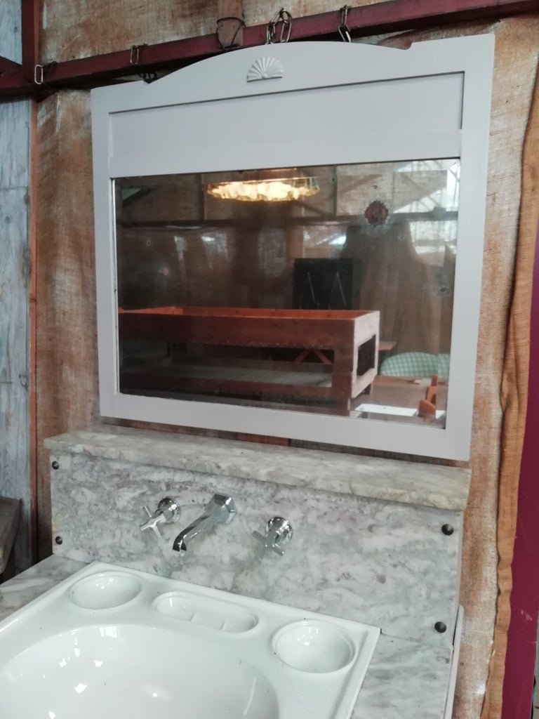 Victorian 20th Century Italian Wooden Cupboard Sink with Mirror, 1940s For Sale