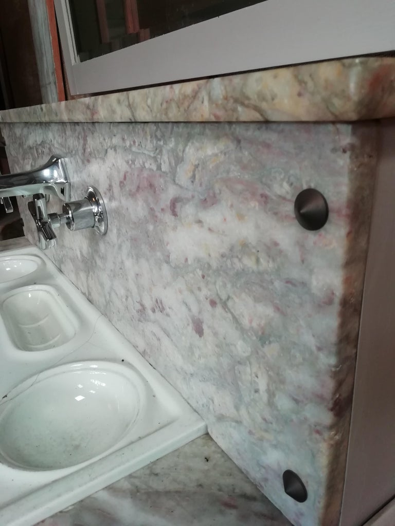 Hand-Painted 20th Century Italian Wooden Cupboard Sink with Mirror, 1940s For Sale