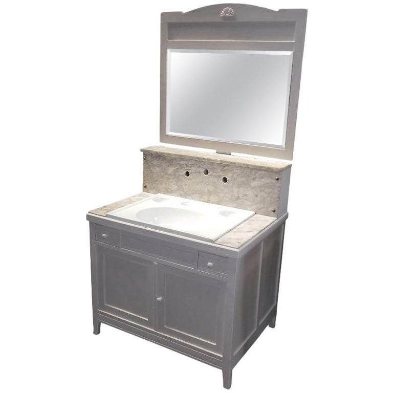20th Century Italian Wooden Cupboard Sink with Mirror, 1940s For Sale