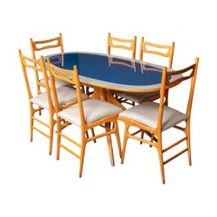 20th Century Italian Wooden Table & Set of Six Chairs, c.1970