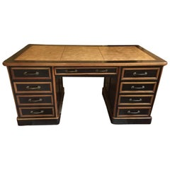 20th Century Italian Writing Desk in Oakwood with Drawers and Extendable Tops