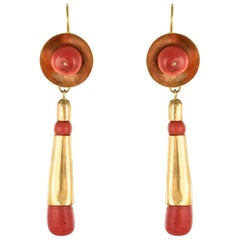 20th Century Italian Yellow Gold Coral Dangle Earrings