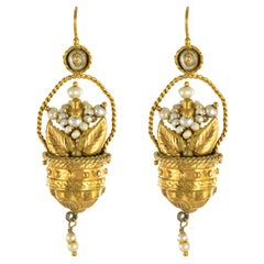20th Century Italian Yellow Gold Natural Pearl Basket Shape Dangle Earrings