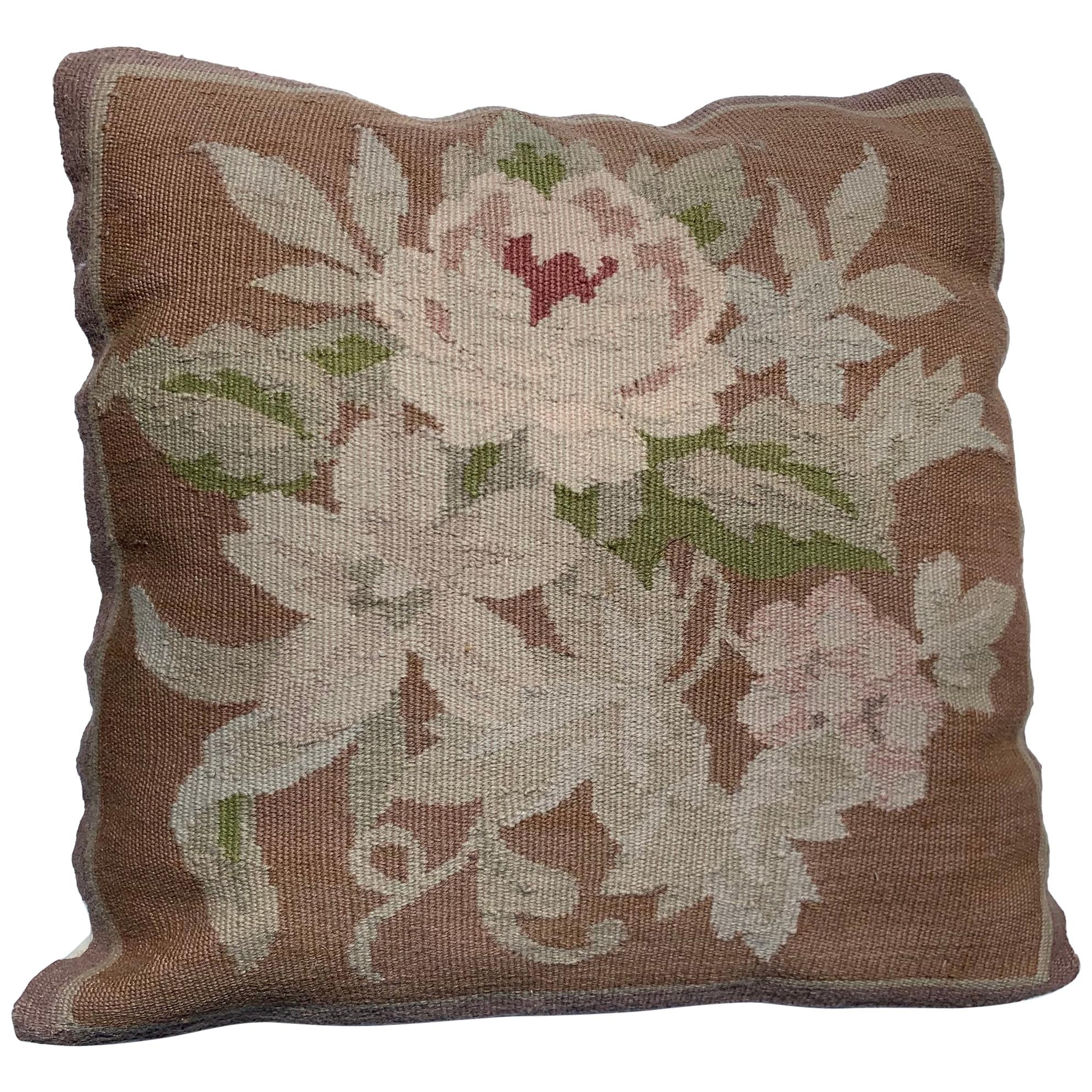 20th Century French Aubusson Tapestry Style Needlepoint Square Pillow