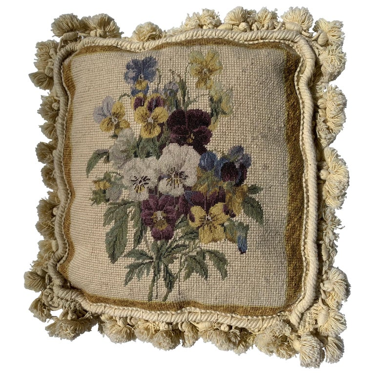 20th Century Ivory Floral Tapestry Style Needlepoint Square Pillow For Sale