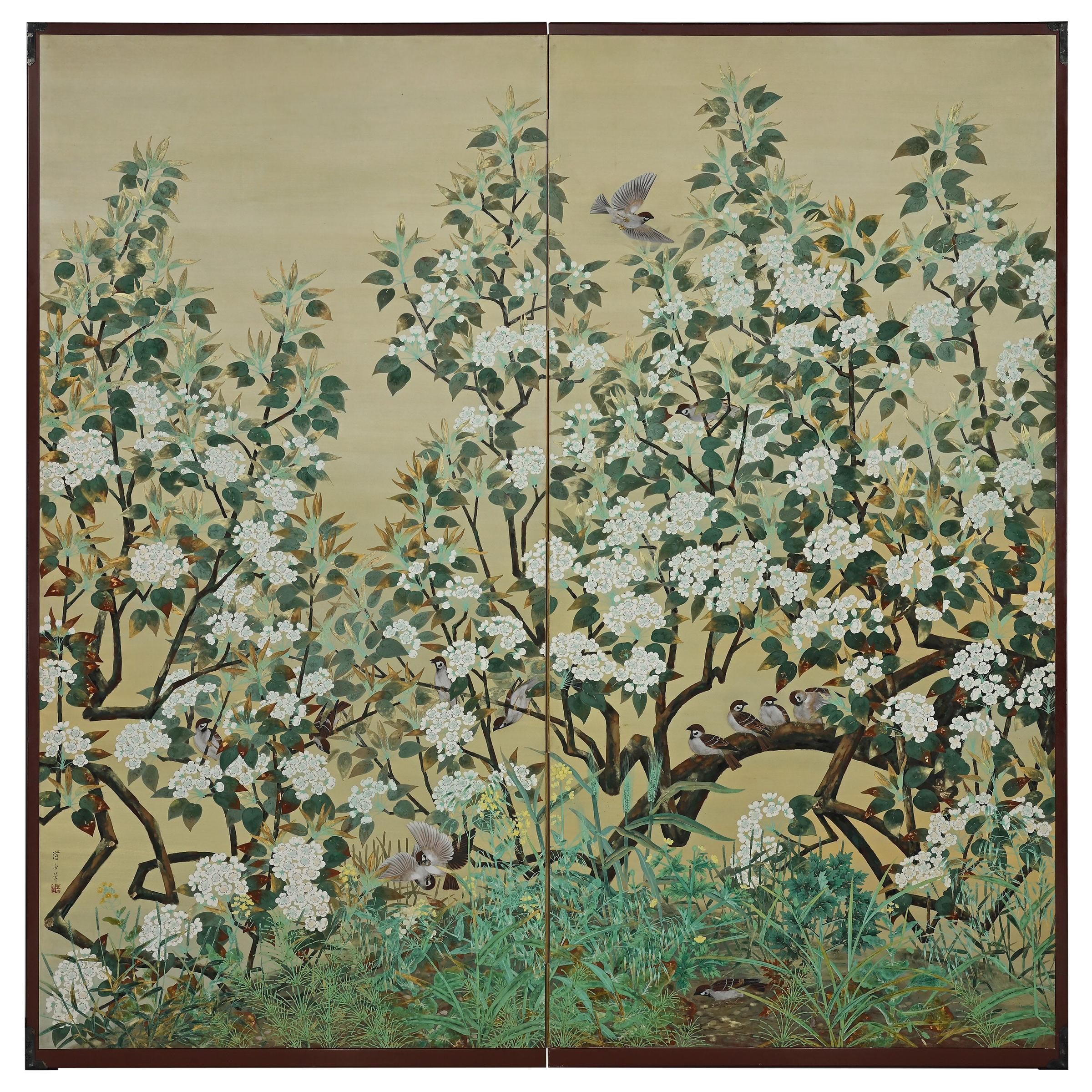 20th Century Japanese Bird & Flower Screen by Yoshida Choshu