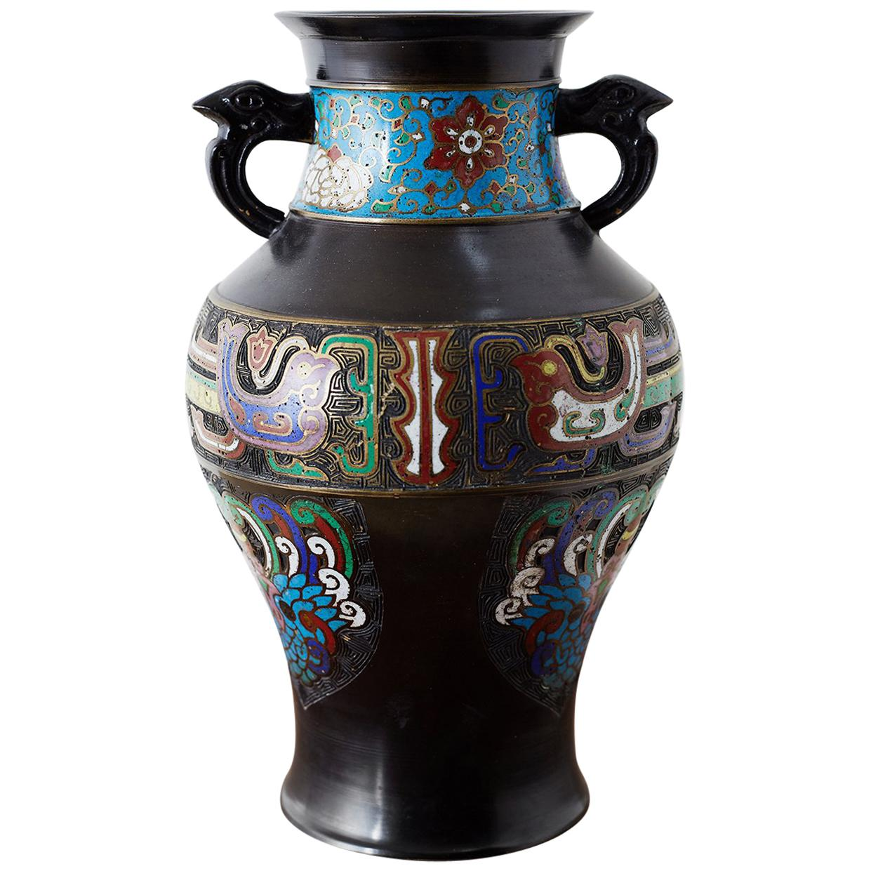 20th Century Japanese Bronze Champlevé Enamel Vase