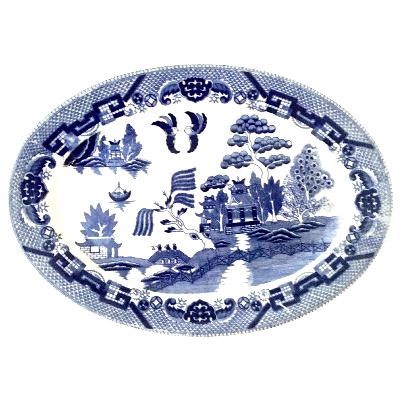 20th Century Japanese Ceramic Glaze Canton Blue Willow Oval Serving Platter