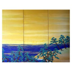 20th Century Japanese Folding Screen Sea Landscape Pine Trees Waves on the Beach
