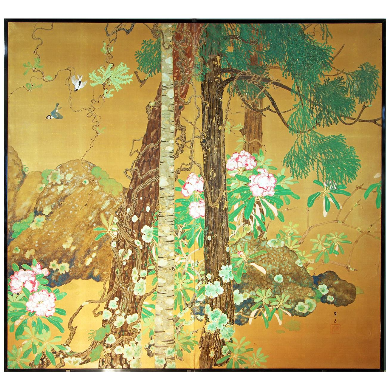 Early 20th Century Japanese Folding Screen Two Panels Hand Painted Golden Silk