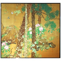 20th Century Japanese Folding Screen Two Panels Hand Painted on Golden Silk