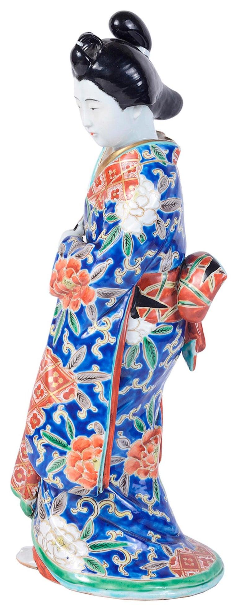 Hand-Painted 20th Century Japanese Imari Porcelain Geisha Girl For Sale