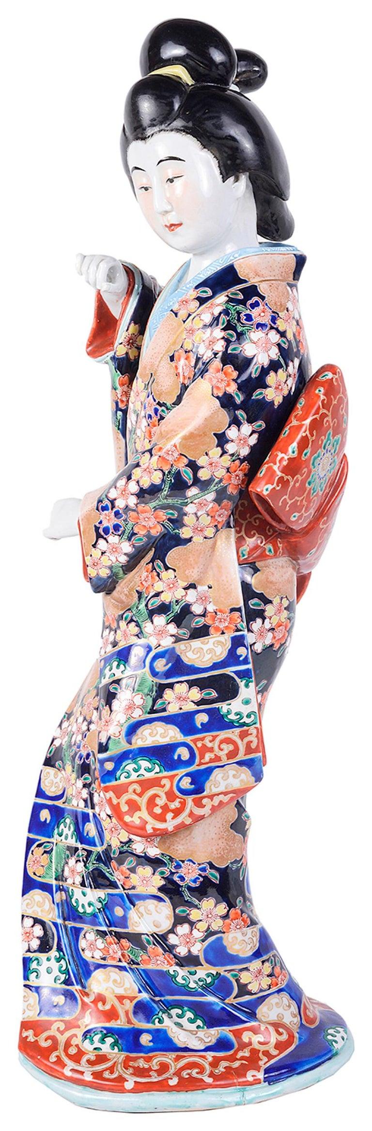 20th Century Japanese Imari Porcelain Geisha Girl For Sale 3