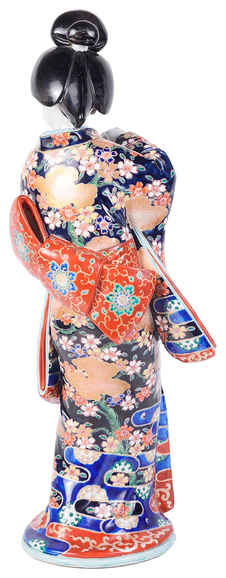20th Century Japanese Imari Porcelain Geisha Girl For Sale 4