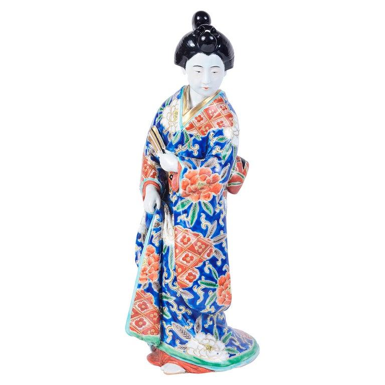 20th Century Japanese Imari Porcelain Geisha Girl For Sale