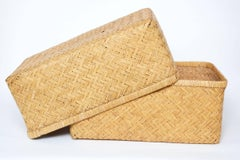 20th Century Japanese Lidded Kimono Basket(Shibui)