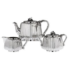 20th Century Japanese Meiji Silver Three-Piece Tea Set, Murakami, circa 1900